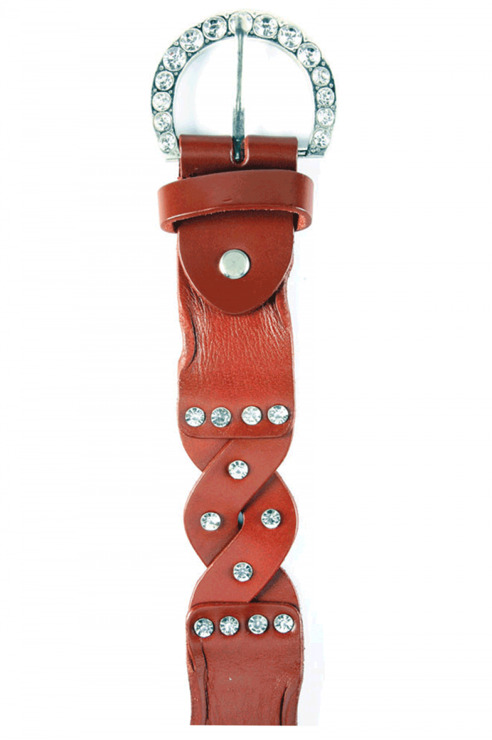 Women leather red belt, with stones and curvy tile - 611032